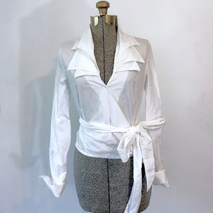 Anne Fontaine White Wrap Blouse Layered Collar